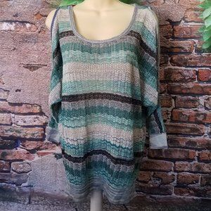 Crochet Metallic Cold Shoulder long Sleeve Top